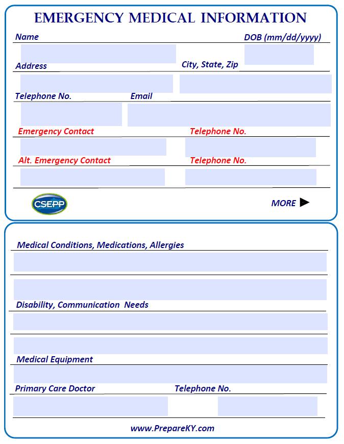 Emergency Medical Information Card
